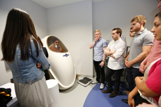 "_2018475London Wasps being tested in the ""Bod Pod"" for body fat percentage (GSK Human Performance Lab, Maxi Nutrition)"